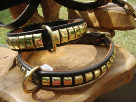 Hand-Made English bridle Leather Clincher Dog Collar